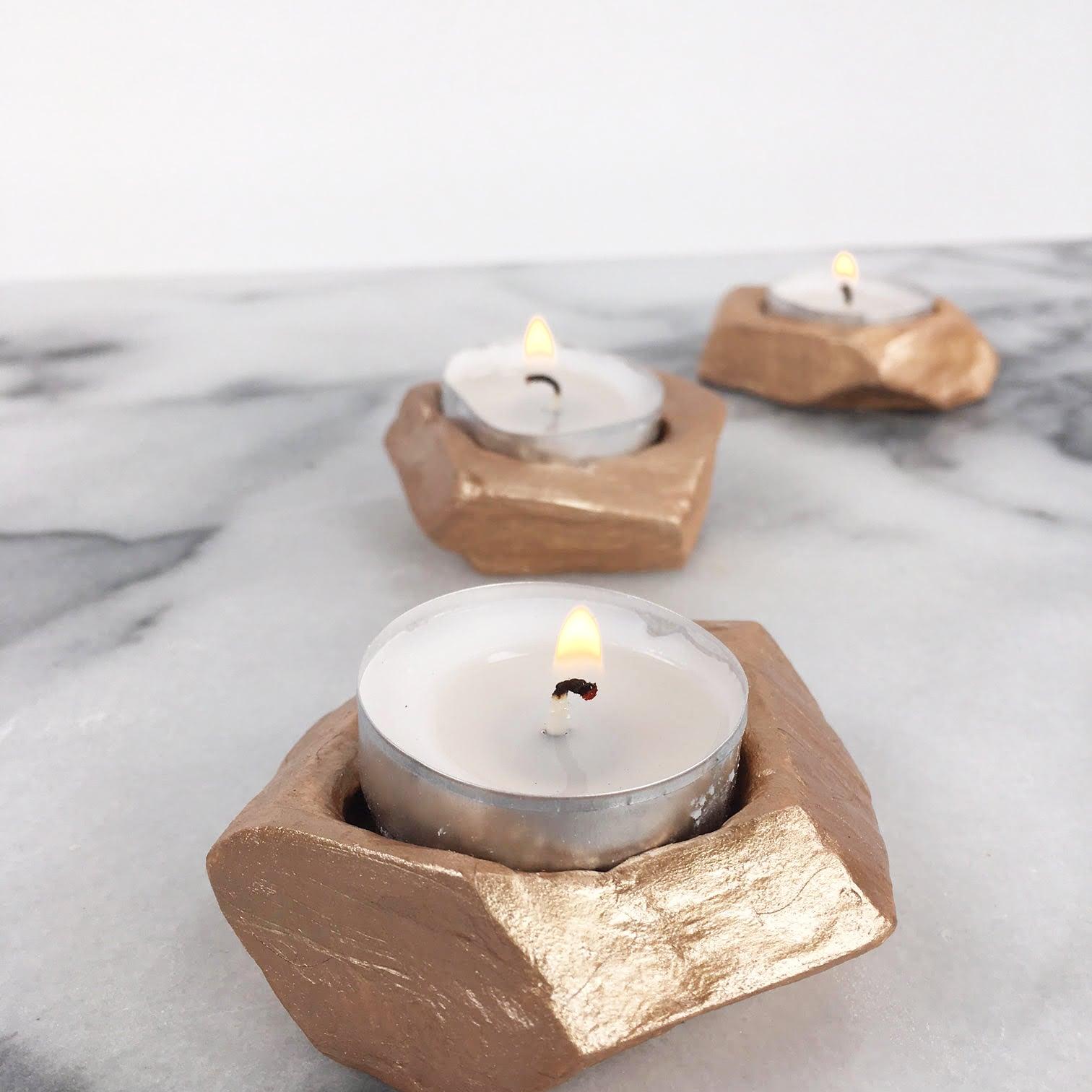 Diy Gold Candle Holders Diy Rose Gold Tea Light Holders Popsugar Smart Living
