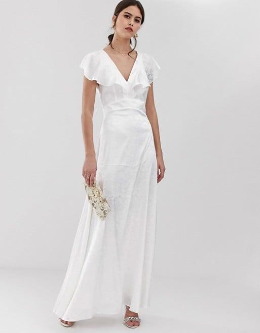 Y.A.S Ruffle Sleeve Jacquard Maxi Dress
