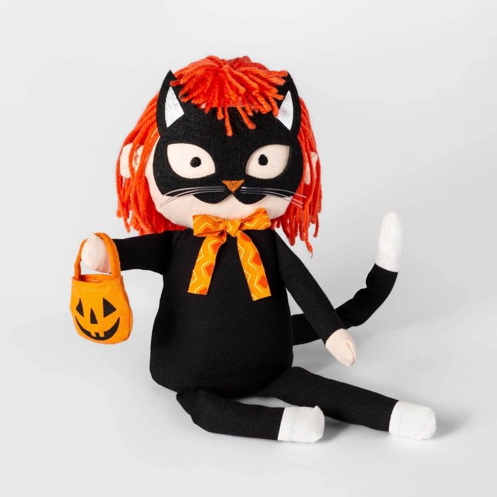 Sitting Trick-or-Treater Cat Halloween Fabric Figure