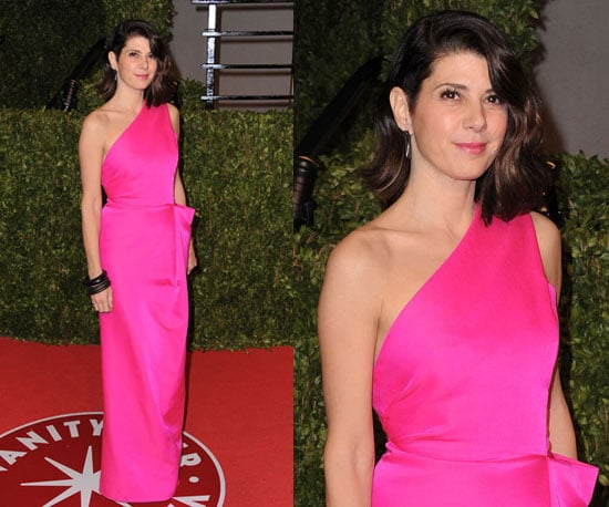 Marisa Tomei in hot pink at 2011 Vanity Fair Oscars After Party