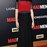 January Jones chose a pre-Fall 2015 Prabal Gurung dress, elevating the evening's black and red dress code to another level with her boxy embellished bodice and the floral appliqué detail on her skirt.