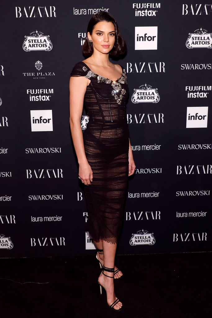 For the 2017 Harper's Bazaar Icons Party, Kendall Jenner wore a sheer Dolce & Gabbana dress with a sexy pair of ankle-strap heels.