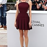 At the Cannes Jury photocall, Diane wowed in a lace-up Versus pleated dress, paired with Jimmy Choo strappy platform sandals.