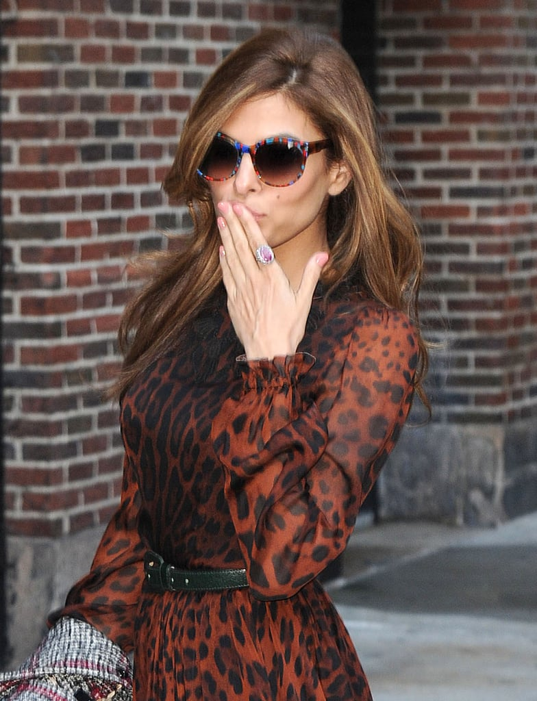 Eva Mendes Goes Wild in Leopard For a Letterman Appearance