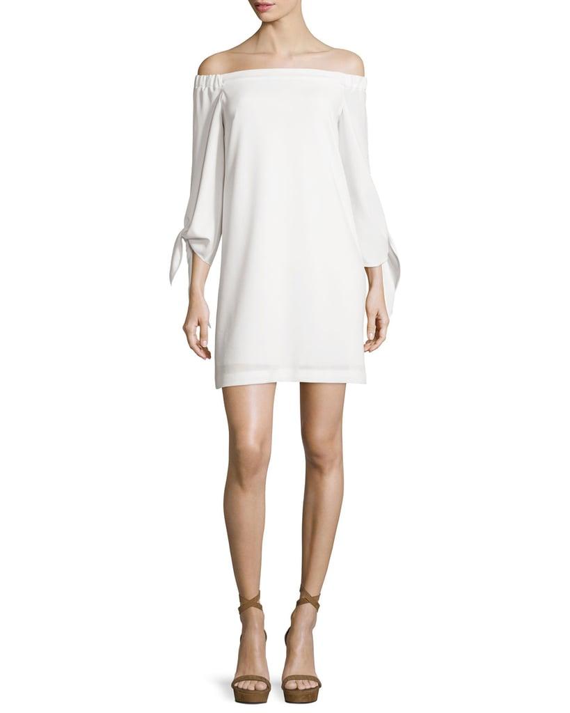 Tibi Structured Crepe Off-the-Shoulder Shift Dress ($395)
