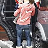 Jennifer Garner and a smiling Samuel Affleck stopped at Brentwood Country Mart in December 2012.