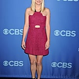 Anna Faris put her slim figure on display in a pink cutout minidress and black ankle-strap sandals at the CBS upfronts in NYC.