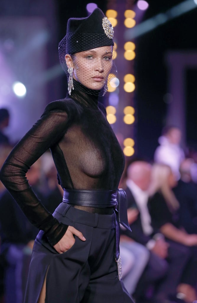 Bella Hadid is taking the no-bra trend to the next level. While strutting her stuff on the runway at the Alexandre Vauthier show at Paris Fashion Week on Tuesday, the model showed off her breasts in a sheer blouse. Of course, this isn't the only time Bella has fogged up our computer screens with her smoking hot figure. Aside from her countless runway and red carpet appearances, she is constantly filling our Instagram feeds with sexy bikini pictures. See the photos from her NSFW catwalk below.         Related:                                                                                                           30+ Celebrities You've Definitely Seen Naked on Social Media