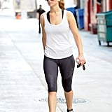 Jennifer Lawrence stayed in shape by going to a the gym.