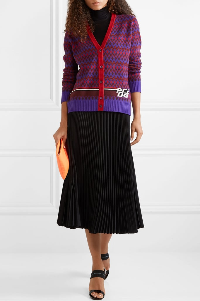 Prada Intarsia Wool and Cashmere Blend Cardigan