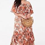 Plus-Size Leaf Print Maxi Dress