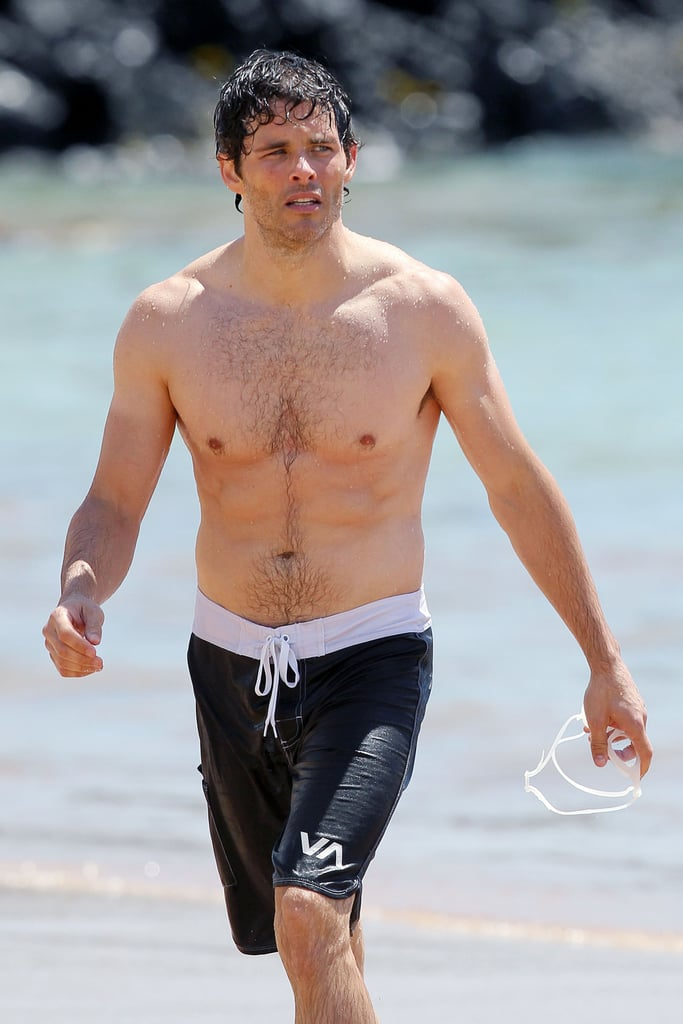 James Marsden was shirtless on the beach in Hawaii.