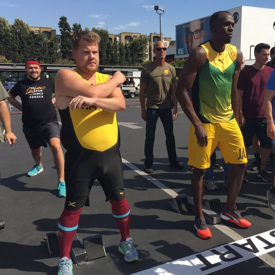 Usain Bolt Races James Corden Video