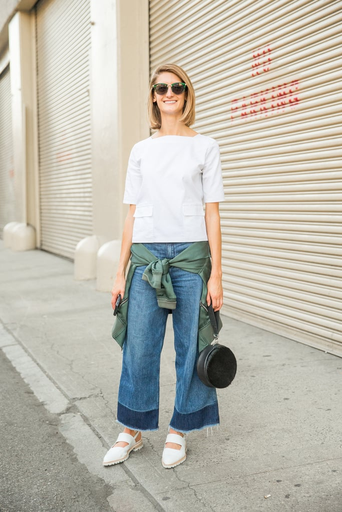 Two-Toned Jeans, a Boxy Top, and a Bomber Jacket Tied Around the Waist