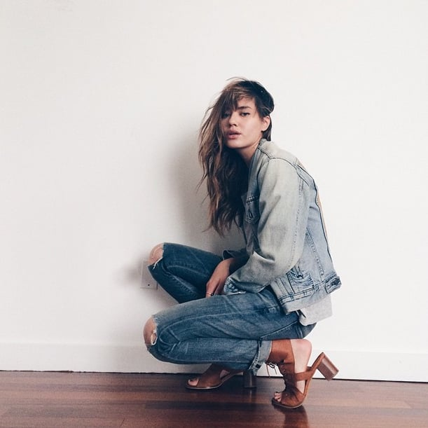 Natalie Suarez wore her neutral-toned Miista lace-ups with a Canadian tuxedo, letting the shoes take center stage.