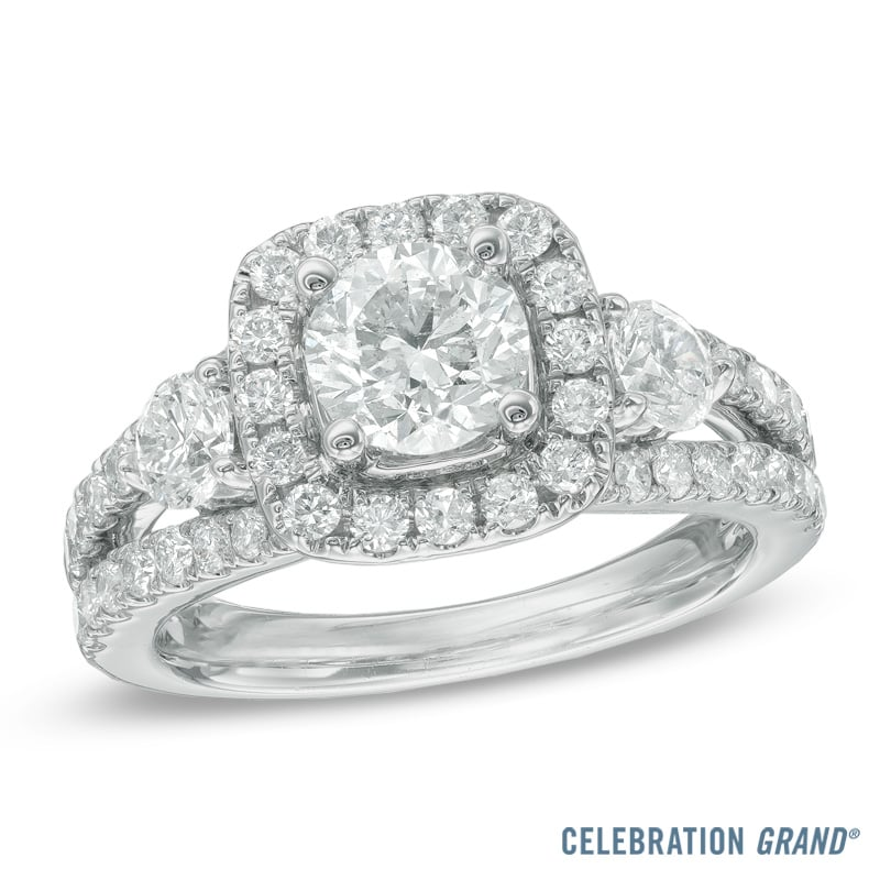 Celebration Grand 2-1/4 CT. T.W. Diamond Three Stone Engagement Ring in 14K White Gold ($11,000)