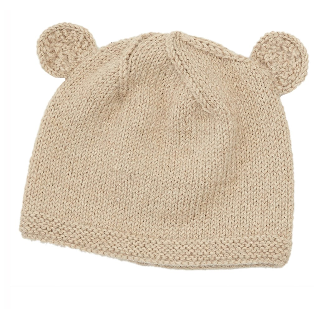 Our knit bear baby beanie ($28) is hand-knit by women artisans using soft Peruvian alpaca. It's a perfect baby gift!