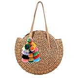 Donalworld Women Round Straw Pompom Shoulder Bag