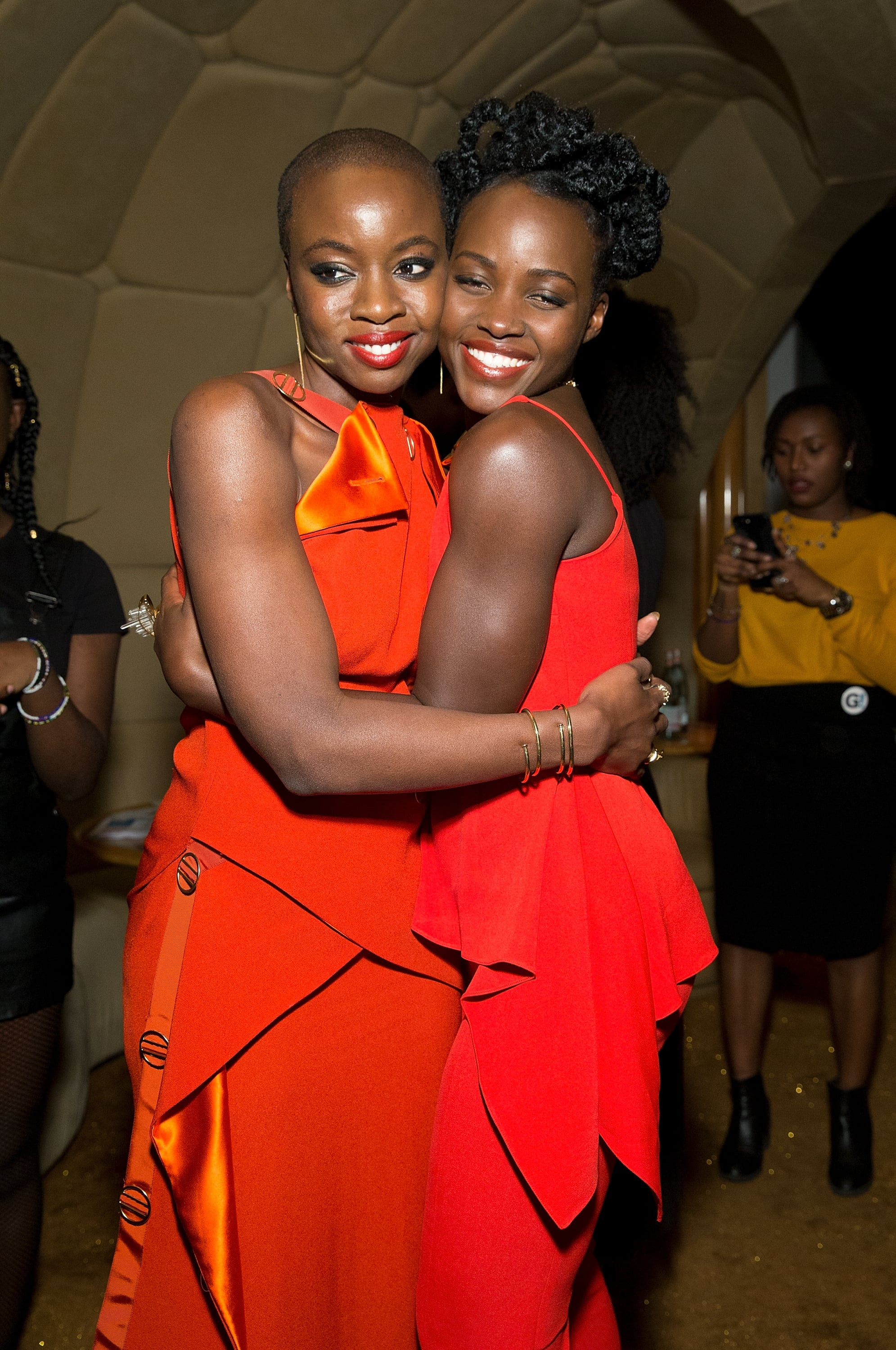 NEW YORK, NY - FEBRUARY 12:  Actors Danai Gurira and Lupita Nyong'o pose for a picture during the DANAI x One x Love Our Girls celebration at The Top of The Standard on February 12, 2018 in New York City.  (Photo by Bennett Raglin/Getty Images)