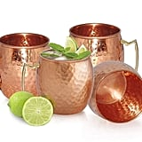 Set of Four Handmade Hammered Copper Moscow Mule Mugs