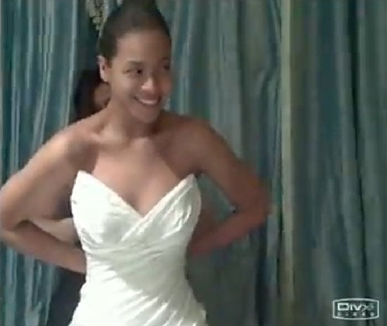 """Beyoncé Knowles shared a photo of her wedding dress from her April 2008 wedding to JAY-Z in her 2011 """"I Was Here"""" video."""