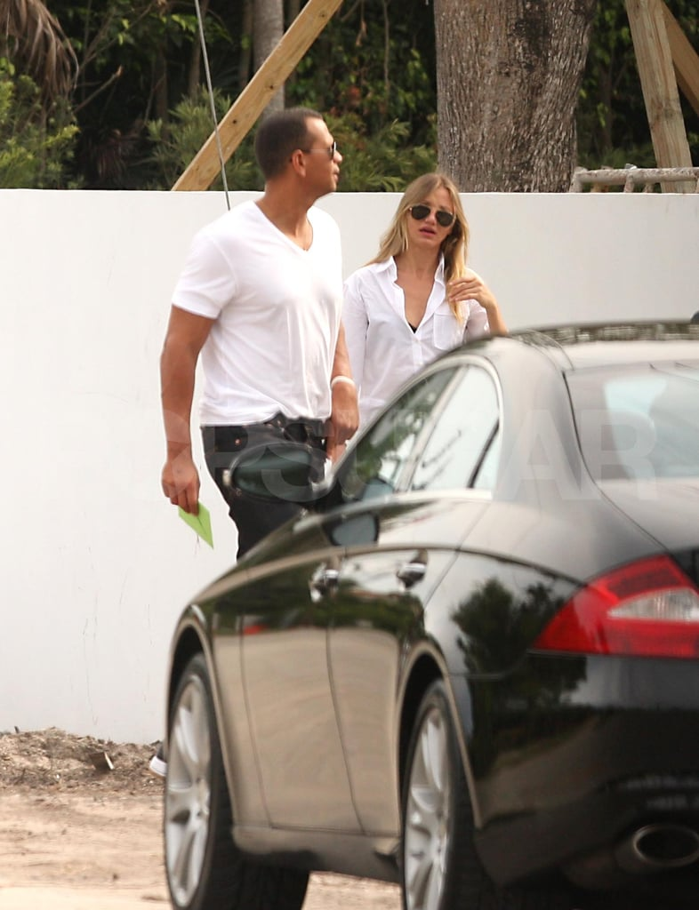 Cameron Diaz and Alex Rodriguez stepped out in Miami yesterday to do lunch and check in on the construction of a home they're rumored to be building together. She headed to Florida following a busy LA Sunday, which kicked off with press duties for her upcoming comedy Bad Teacher and wrapped up at the MTV Movie Awards. Cameron took the stage at the show with her hilarious costar Jason Segel before retiring to the MTV Movie Awards afterparty at Soho House, where Alex joined her. It seems she and Alex are going strong despite rumors last week that they'd parted ways. Both Alex and Cameron are busy with their respective work duties. He's in the midst of a time-consuming season with the Yankees, and she's on the press trail ahead of the release of her and Jason's movie on June 24. Cameron was also just in London shooting Gambit with Colin Firth.
