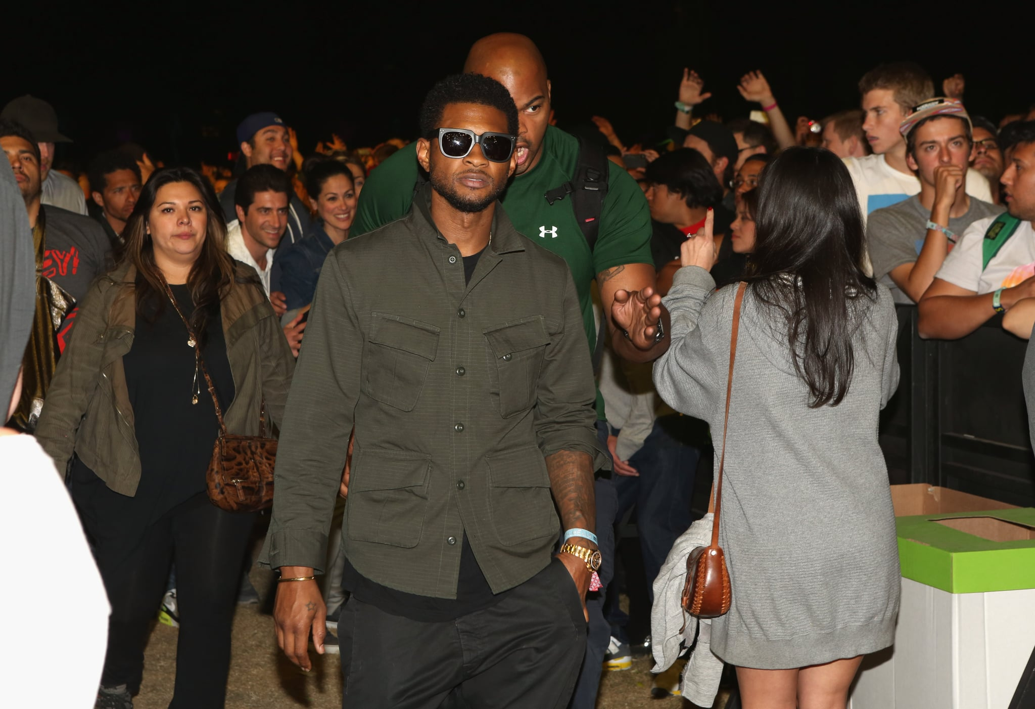 Usher was on hand for the Sunday night scene.