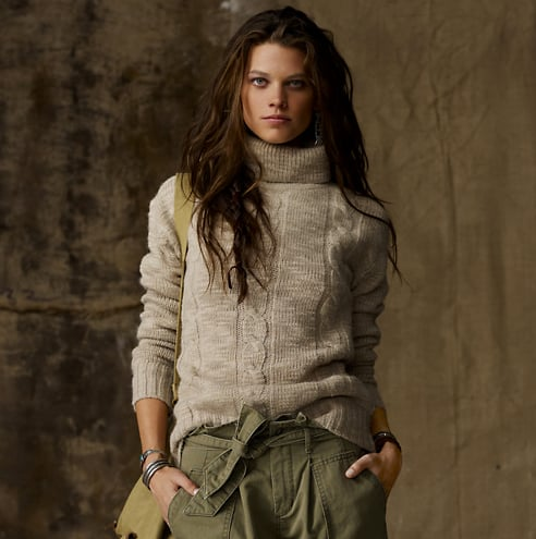 We'd pair this textural turtleneck with a leather skirt and booties.  Wool-Blend Textured Turtleneck ($98)