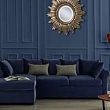 Large Velvet Sectional L-Shape Sofa