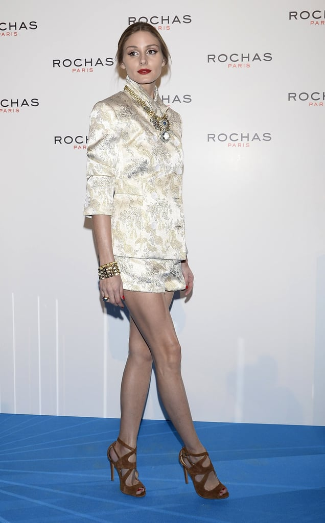 Olivia Palermo attended a Rochas event in Madrid wearing a jacquard shorts suit by Rochas, naturally, with Zara sandals.