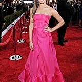 Lea Michele went pretty in pink in a bright-pink strapless Valentino dress.