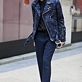Kate Lanphear showed off a cool-girl moto jacket and trousers.
