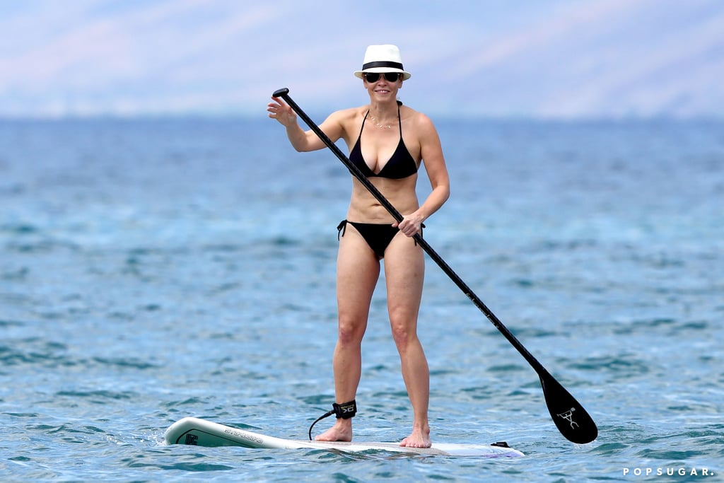 Chelsea Handler paddleboarded during her trip to Hawaii.
