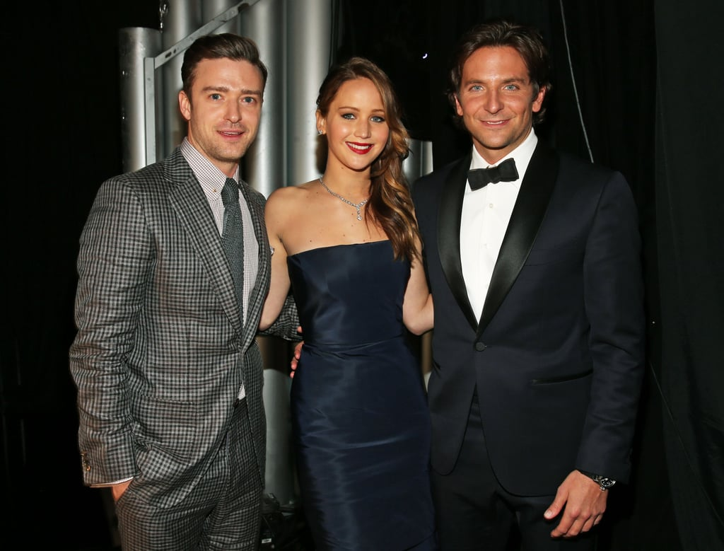 Justin Timberlake met up with Jennifer Lawrence and Bradley Cooper backstage at the SAG Awards, where Justin was a presenter.