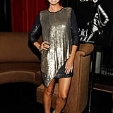 Heidi Klum celebrated her cover of CITY Magazine in a shimmery outfit and neon Jimmy Choos.