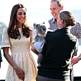 Kate flashed a giant grin when they met a koala at Taronga Zoo in April.