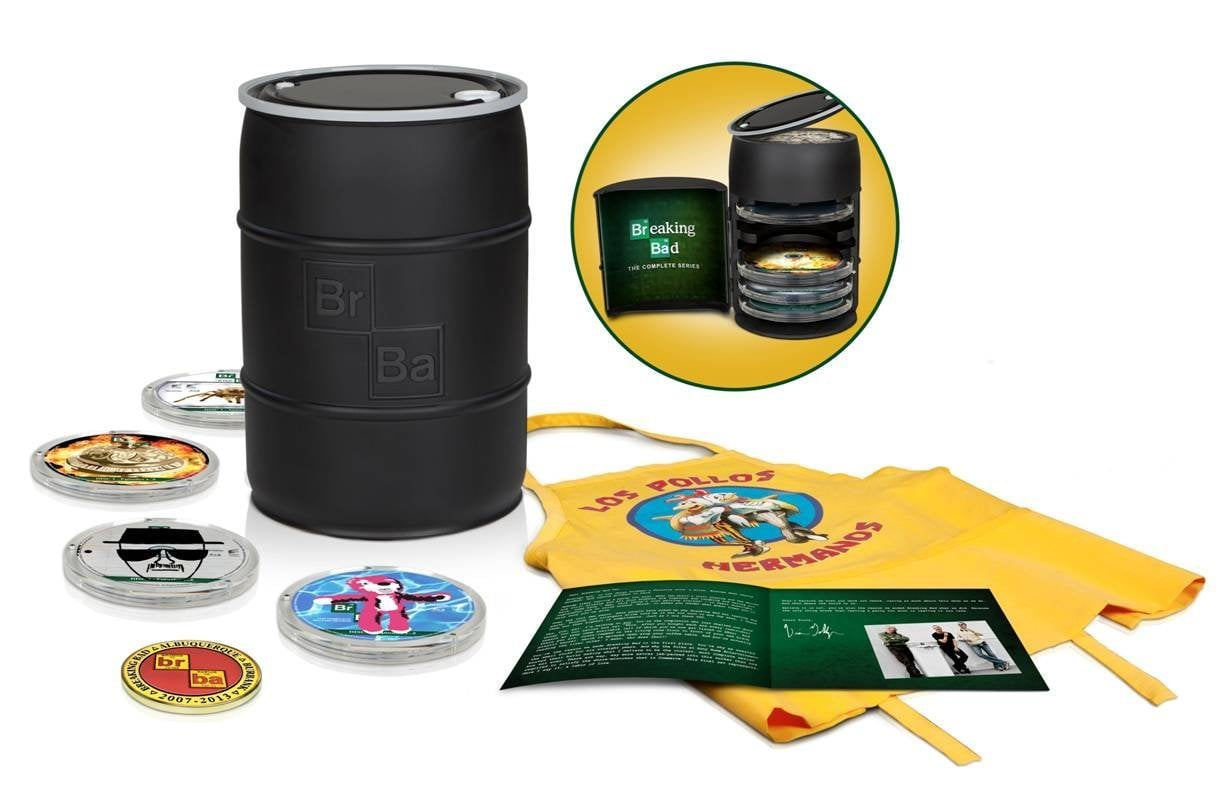 """Any Breaking Bad fan will be itching to get their hands on the complete series box set ($300). Not only does it come with every episode from all five seasons, but there's also 55 hours of bonus features, including deleted scenes, a gag reel, and interviews with the cast. Did I mention there's also a very special """"Pollos Hermanos"""" apron? Now get cooking. — Becky Kirsch, entertainment director"""