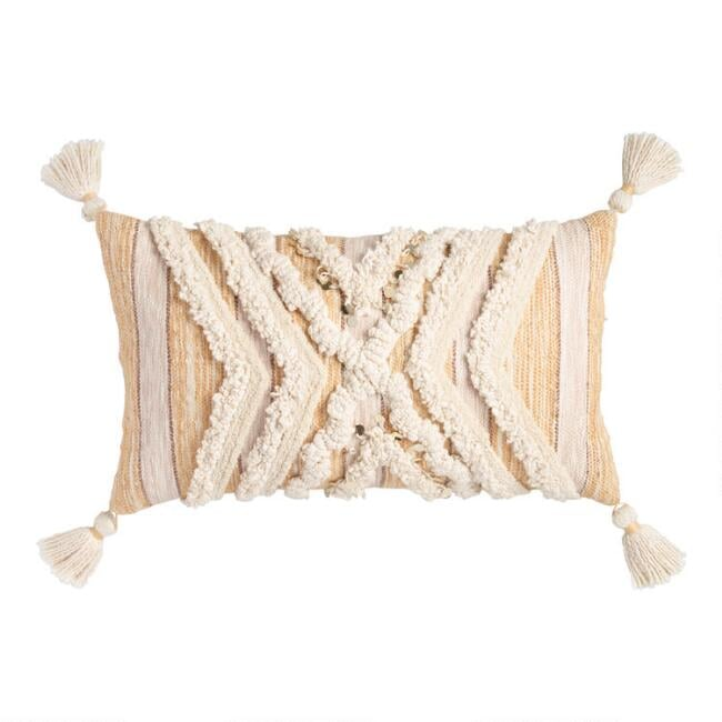 Tufted Moroccan Style Blanket Lumbar Pillow