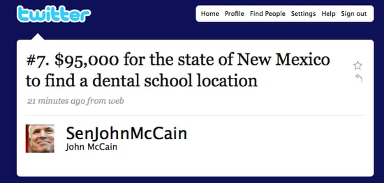 Briefing Book! McCain Tweets the Top-10 Porkiest Projects