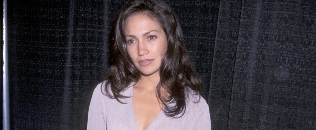 Jennifer Lopez '90s Outfit: Purple Cardigan and Silk Pants