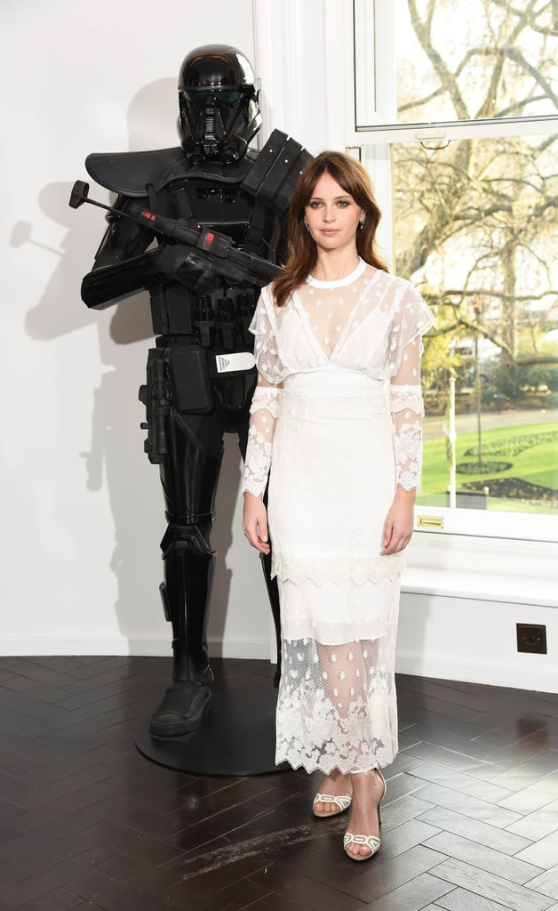 Felicity Jones's White Dress at Rogue One Photocall