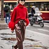 Wear a holiday friendly pair with pumps and a cozy, oversize sweater.