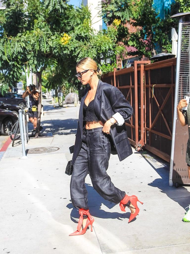 Hailey Baldwin Wearing Red Heels in LA