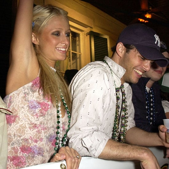 Paris Hilton and James Marsden threw beads to the 2003 Mardi Gras crowd in New Orleans.