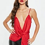 Missguided Red Satin Twist Front Cami Top