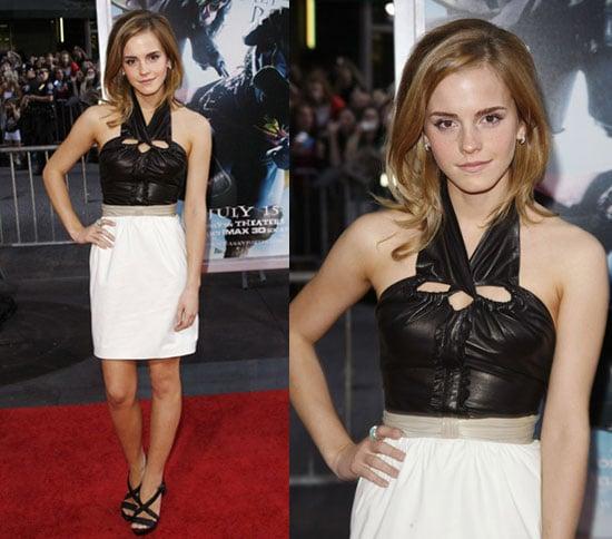 Actress Emma Watson Wears Leather Halter Proenza Schouler Dress to Harry Potter Premiere