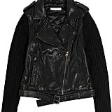 Sandro Black Leather and Knit Sleeve Motorcycle Jacket ($152, originally $760)
