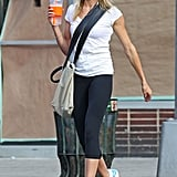 Cameron Diaz showed off her buff body in leggings and a tight tee.