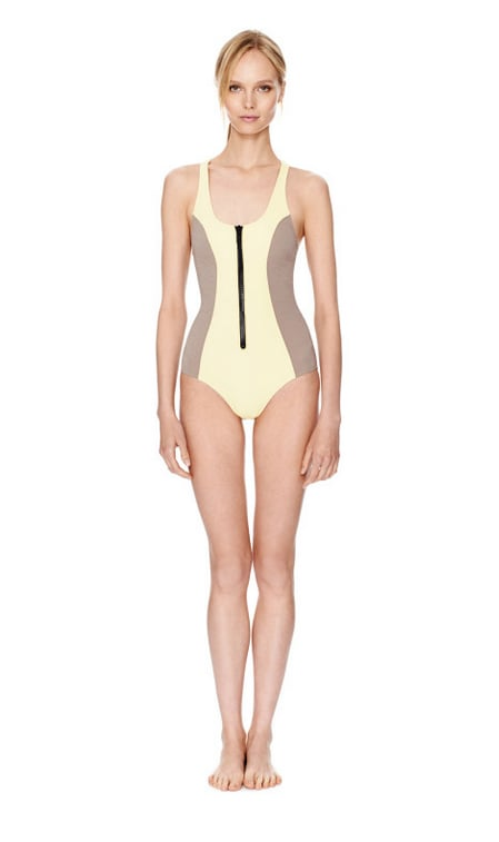 Lisa Marie Fernandez's shapely, body-con one-pieces are a fashion insider favorite. Slip into your own this Summer with this buttery yellow zip-up ($210, originally $415).