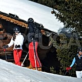 Pippa Middleton looked on while Carole Middleton, Kate Middleton, and Prince William chatted at the top of the mountain in France.